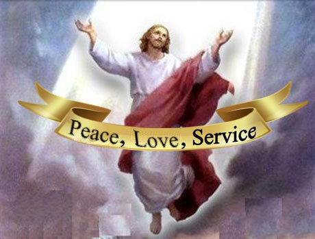 Image: Jesus Christ with the banner of Love, Peace and Service.